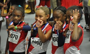 Karlie Wooten, Nahsha Donovan, Kayla Shade and Sydney Williams 5th Place in the Primary Girls 4X100