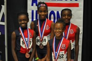Makiyah Wykle, Zuri Reid, Krysten Holmes and Robyn Moore 8th Place in the 4X800 relay